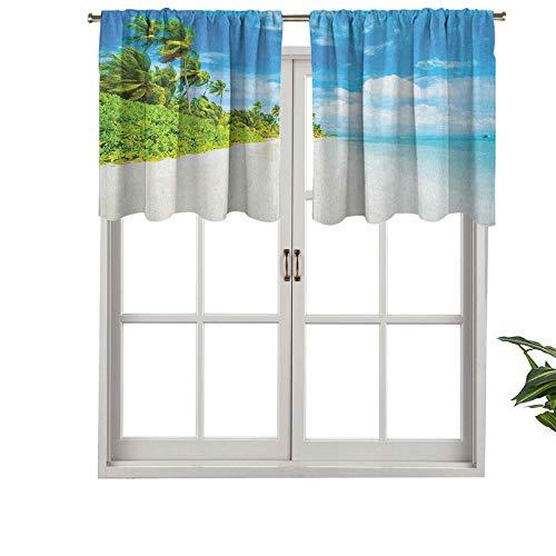 Hiiiman Cenefa de cortina con bolsillo para barra, imagen opaca de paisaje tropical de playa y cielo marino con palma de coco, juego de 2, tratamiento de ventana de 137 x 91 cm para sala de estar