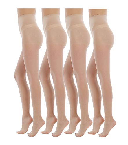 Yulaixuan pantimedias para mujer 4 pares control superior medias 15 Denier medias largas leggings reforzados (4 color de piel)
