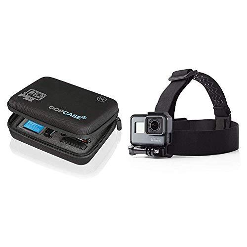 Wicked Chili GOP Case Tasche für GoPro Hero 7/2018 / 6/5/4/3 / QUMOX SJ4000 / Yi 4k 2k Koffer Bag Tragetasche, LCD und Zubehör & Amazon Basics Kopfgurt für GoPro Actionkamera