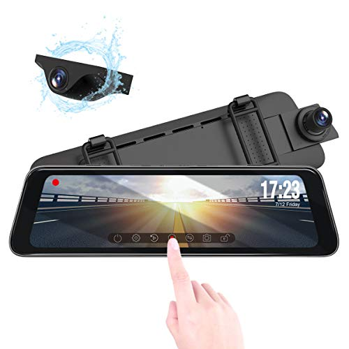 Vantrue M1 Backup Camera, 9.88' 2K 1296P Mirror Dash Cam 1080P Front and Rear View Touch Screen Dash...