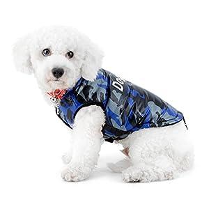 Selmai Gilet d'hiver pour chiens de petite taille Camo sans manches doublé en polaire coupe-vent résistant à l'eau pour animal domestique Chat Chiot Manteau en duvet pour femme Medium Yorkshire Chihuahua Vêtements Apparel