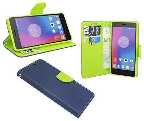 ENERGMiX Buchtasche Hülle Hülle Tasche kompatibel mit Lenovo K6 Note (5,5 Zoll) Wallet BookStyle mit Standfunktion in Blau-Grün (2-Farbig