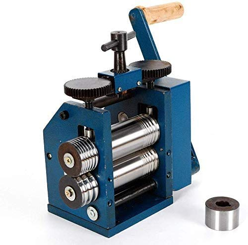 ZHFEISY Jewelry Rolling Mill Machine - 3'(75mm)Roller Manual Combination Rolling Mill Machine Jewelry Press Tabletting Tool Jewelry DIY Tool - For Metal Sheet Wire Rolling - Gear Ratio 1:7 22KG