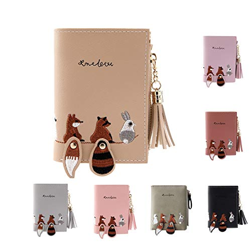 Cartoon Animals Purse, squarex Women Wallet Lovely Animals Small Coin Zipper Purse Card Package (Khaki)