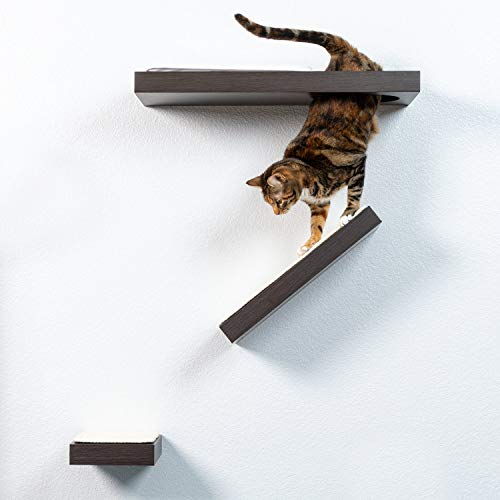 PetFusion Cat Activity Wall Shelves (Available as a 3-Piece Set or Individual Shelf.) Sisal Surfaces for Cat Scratching & Plush to Lounge, Neutral Design & Color Tones. Easy & Secure Wall Mount