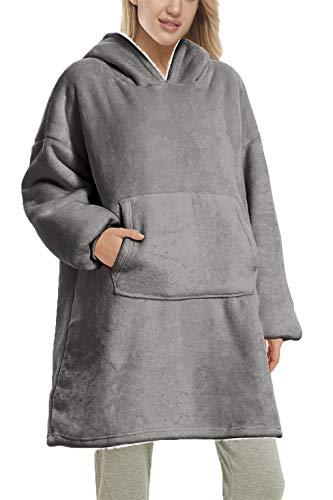 Yutdeng Sherpa con Capucha cálido y Supersuave Sudadera Manta Gran tamaño para para Mujer Supersuave Forro Polar Manga Larga Chaqueta Cozy Comfy Hoody Hombre(Gris,Talla única)