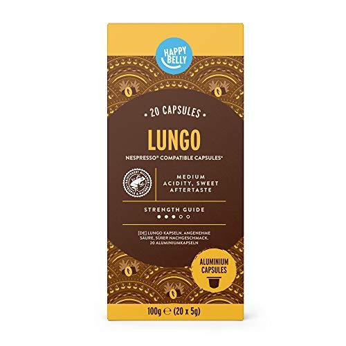 Marchio Amazon - Happy Belly Lungo Caffè tostato e macinato in capsule, in alluminio, compatibili Nespresso, 20 capsule (1x20) - Rainforest Alliance