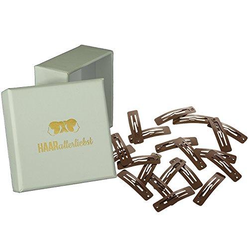 HAARallerliebst Haarspangen rechteckig klein (20 Stück | braun | 4cm) inkl. Schachtel zur Aufbewahrung (Schachtelfarbe: weiss)