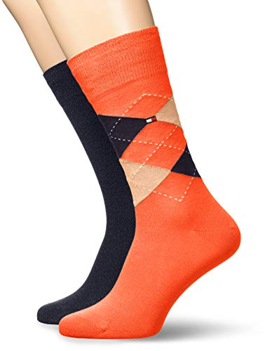 Tommy Hilfiger Herren TH MEN CHECK 2P Socken, Orange (Coral 009), (Herstellergröße: 43/46) (2er Pack)