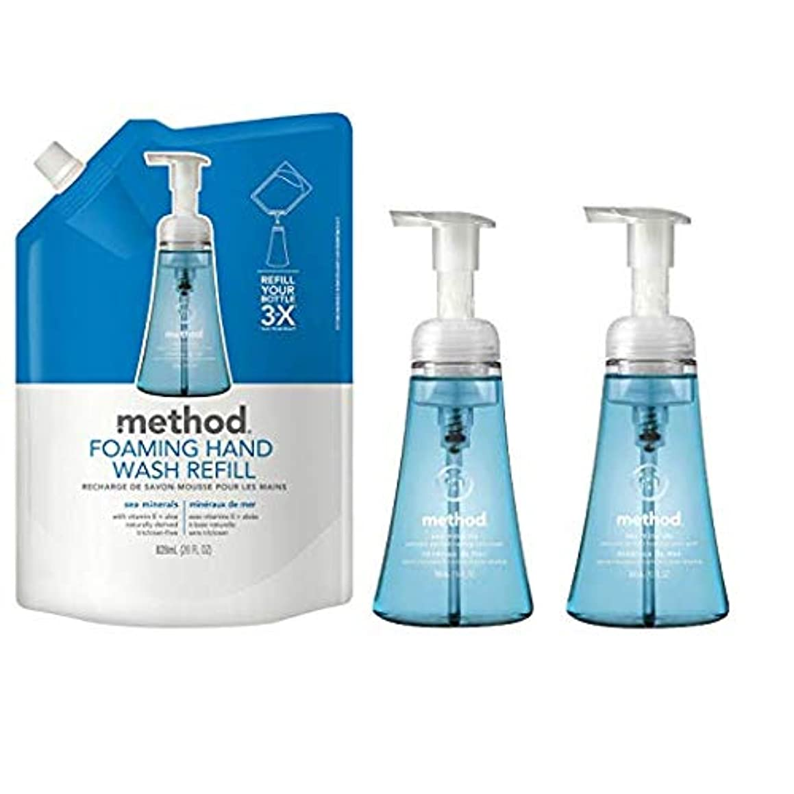 Method Foaming Hand Soap Bundle with Two 10 oz. Dispensers & One 28 oz. Refill | Naturally Derived Hand Soap (Sea Minerals)