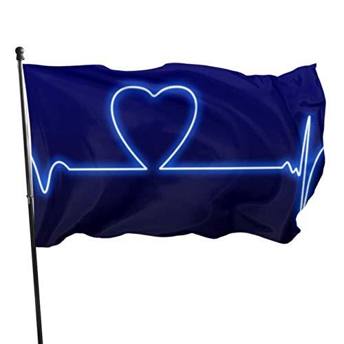 WDDHOME Liebe Herzschlag Herzschlag Monitor Valentine Neon Flagge Für Raumdekor Dekorationen Fahnen 3x5 Füße Lebendige Farben Qualität Polyester Und Messing Ösen