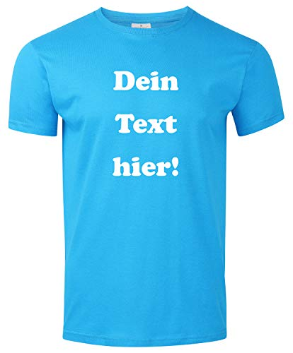 Herren T-Shirt Bedrucken mit dem Amazon Tshirt Designer. T-Shirt selber gestalten. T-Shirt Druck. T-Shirt mit Wunschtext. T Shirts sind Ökotex-100 Zertifiziert. - Hellblau L