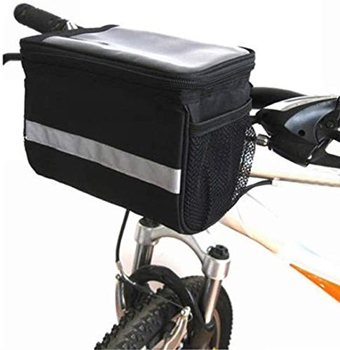 XPhonew Bicycle Basket, 3.5L Bike Handlebar Bag Cycling Basket Front Pack Frame Bag Pannier with Touchscreen Operation Transparent PVC Pouch & Silver Grey Reflective Stripe for Mountain MTB Road Bike