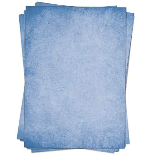50 Blatt im Set: Farbiges Briefpapier Altes Papier Vintage blau- DIN A4 - beidseitig