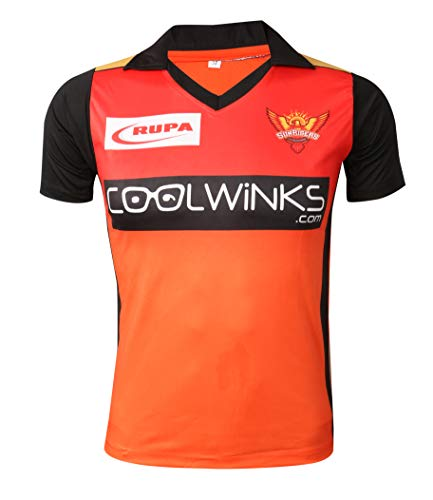 IPL Cricket SRH 2019 Jersey Supporter T Shirt Warner 31 Custom Print Name No Sunrisers Hyderabad Uniform(Warner 31, 46)