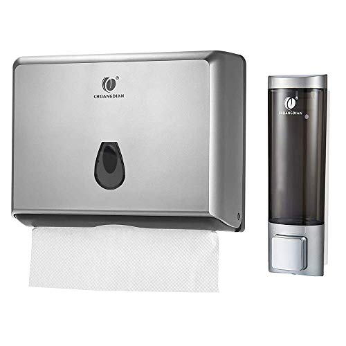 BBX Lephsnt CHUANGDIAN Wall Mount Dispenser Set, Paper Towel & Soap Dispensers, Set of 2 (Sliver)