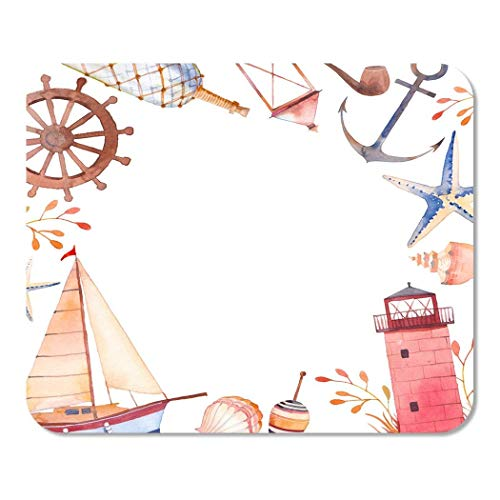 Mousepad Computer Notepad Office Vintage Aquarell in Sea Anchor Smoking Pipe Stern Muscheln Rad Flasche Laterne Home School Game Player Computer Worker