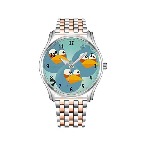 Reloj de hombre de acero inoxidable oro rosado deportivo Business Watch hombres tricolor Papillon Agility Dog Watch