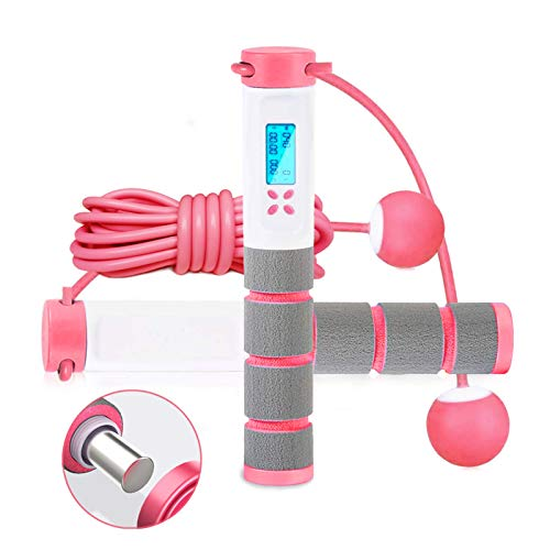 Springseil, digitales Springseil, Zähler für Indoor- und Outdoor-Fitness-Training, verstellbar, gewichtetes Springseil, Workout für Männer, Frauen, Kinder, schnurloses Übungs-Springseil, Pink