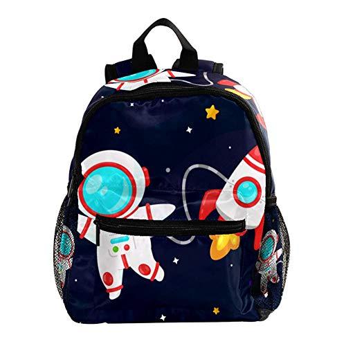 Mochila Preescolar Astronauta Cohete De Dibujos Animados Mochila Infantil Niño por Adolescente Bolsa para la Escuela, Bolsa de Escuela Primaria Mochila para niños 25.4x10x30 CM