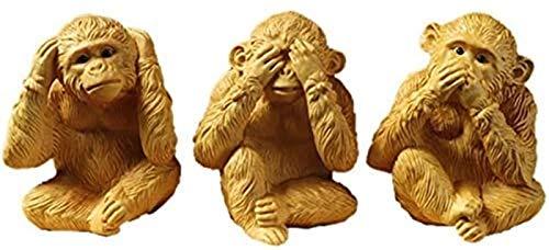 GTYT No Evil Monkey Figurita Estatua, See No Evil Hear No Evil Speak No Evil Monkeys Escultura Decoraciones, Attract Calm, Adornos de Oficina en casa de Madera de boj, Set (Color: Set)