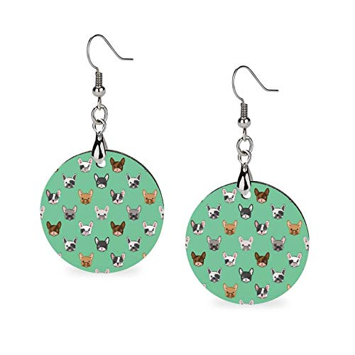 Wooden Earrings for Women Dangle Cute French Bulldog Earrings Pendant Lightweight Womens Earrings Set Fashion Drop Earrings for Party