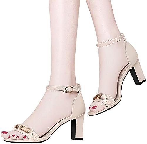 GTVERNH Mot Buckle Douce Fille Sandales Summer Wild Talon 7Cm Talons Hauts La Mode Les Chaussures De Femmes.