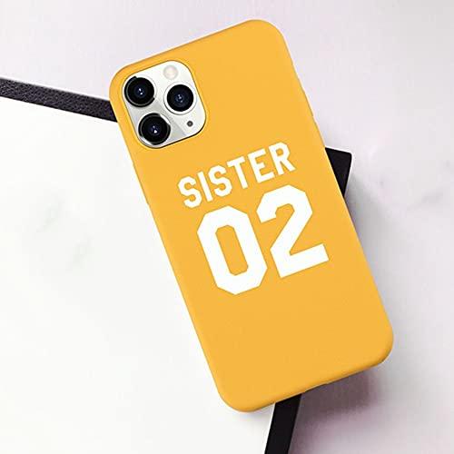 Best Friends Sisters Funda para teléfono para iPhone 7 8 6 Plus 12 11 Pro X XS XR XSMAX SE Sisters 01 02 03 Funda para teléfono con Letras, K, para iPhone X