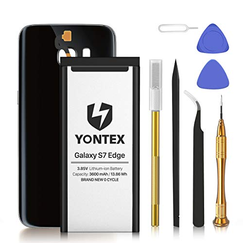 Yontex - Batería de repuesto compatible con Samsung S7 Edge SM-G935F EB-BG935ABA, 3600 mAh, 3,85 V, batería de repuesto de polímeros de litio, con herramientas, carcasa de cristal de repuesto (negro)