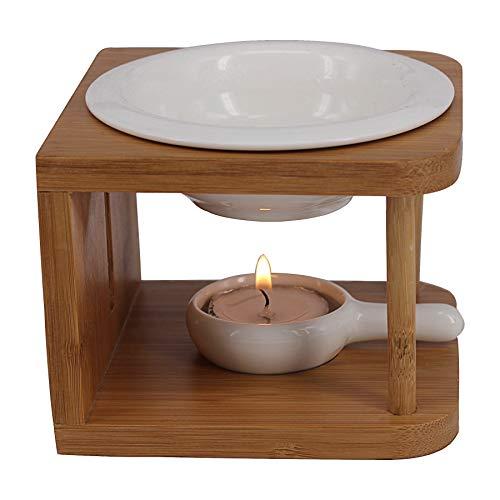 Singeek Duftlampe für ätherische Öle, Keramik, 100 ml, Duftwachs mit Teelichthalter, cooler Raumduft für Spa, Yoga, Meditation (Bambusholz)