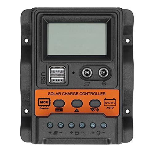 Controlador de carga solar EVTSCAN Pantalla LCD Regulador de control de descarga de doble USB DC 12V-24V(10A)