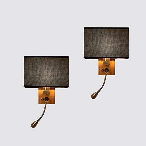 2 Lampes Applique Murale Chevet, Moderne Abat-Jour en Tissu Lampe Murale Réglable Flexible LED Lampe de Lecture, pour Salle Enfant Salon Chevet Chambre Interieur Couloir