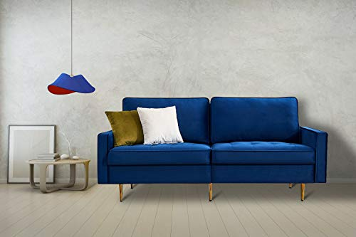 Artiron Modern Velvet Fabric Futon Couch Adjustable Back Sofa with 2 Decorative Pillows Living Room Furniture Luxury Look and High-end Velvet Fabric Sofa (Blue)
