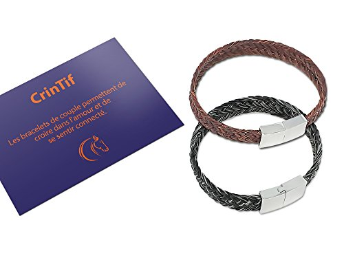 2 Paar-Armbänder aus Pferdehaar – 18 bis 21 cm – Armband Kollektion Tennessee – flach geflochten – Schmuck für Damen und Herren – Braun und Grau - 19.00