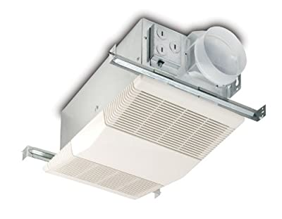 Broan-Nutone 605RP Exhaust Fan and Heater Combo, White Ventilation Fan and Heater for Bathroom, 1300-Watts, 4.0 Sones, 70 CFM