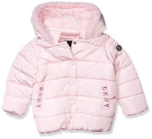DKNY Mädchen Puffer Jacket Daunenalternative, Mantel, Snap Front Light Pink, 4 Jahre