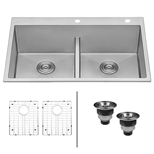 Ruvati 33-inch Drop-in Low-Divide Tight Radius 50/50 Double Bowl 16 Gauge Topmount Kitchen Sink -...