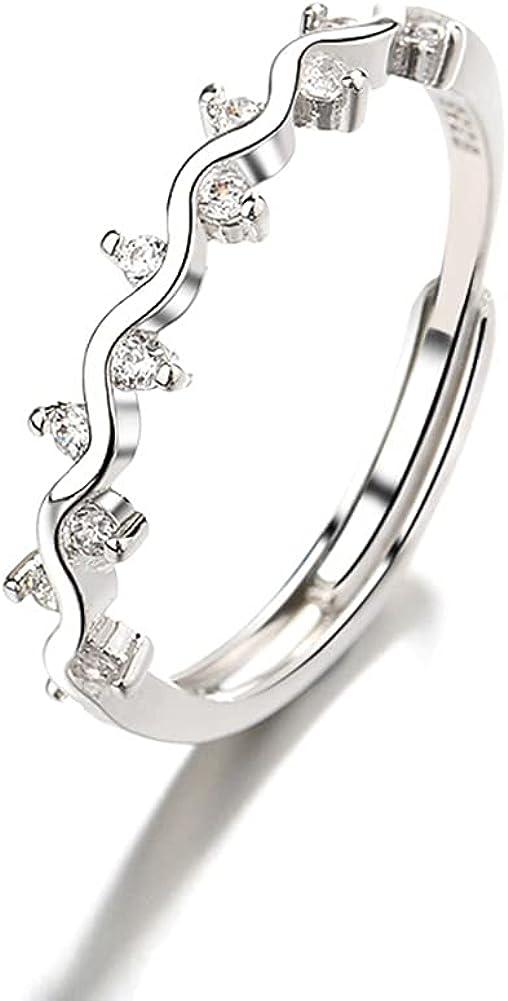 Shiny zircon wave style ring womens girls ring