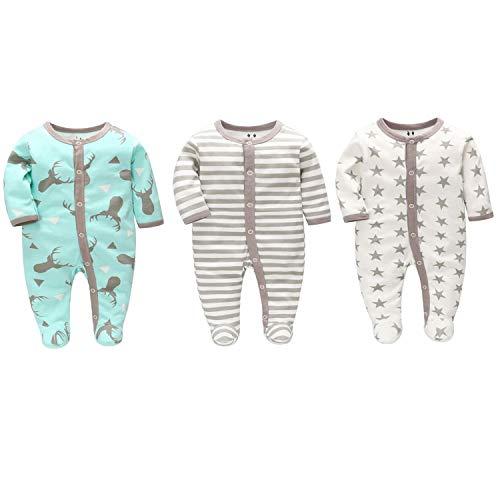 LAT LEE AND TOWN Pijama de bebé para bebé (tallas 56, 62, 68, algodón, con botones, para niños y niñas, 0-7 meses) Ciervo/estrellas grises/rayas grises. 6 mes