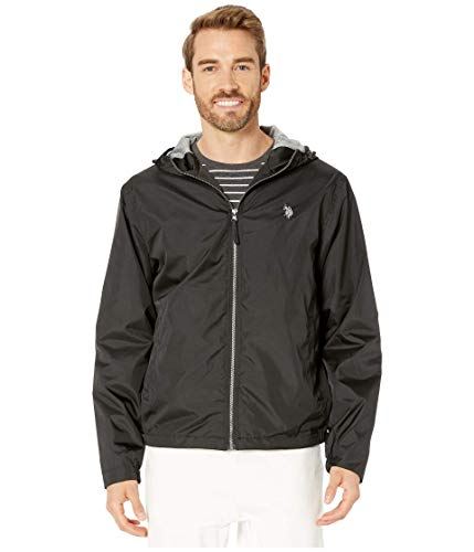 U.S. POLO ASSN. Herren Solid Windbreaker Jacket with Fixed Hood Jacke, schwarz, Medium