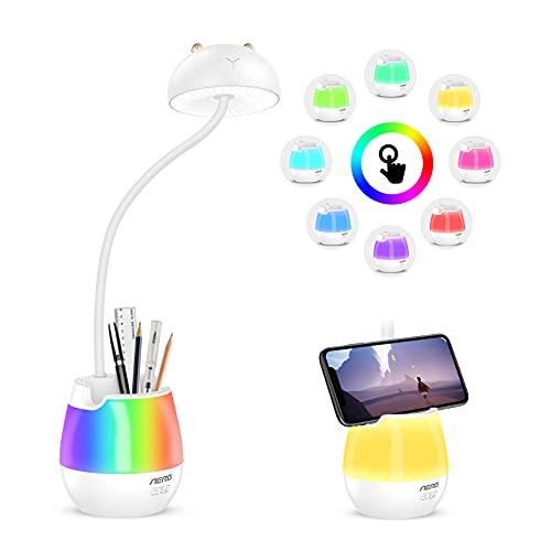 Aerb Lámpara Escritorio LED, Luz Nocturna RGB, Lámpara de Mesa, Múltiples modos de luz, Función de bloqueo de teclas, Proteger los ojos, control táctil y rotación de 360°, Para Niños, Oficina Estudio