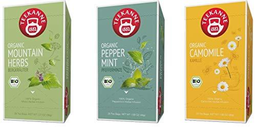 Teekanne Bio Kräutertee - Pfefferminze, Kamille, Bergkräuter (3 x 20 Teebeutel, 111 g)