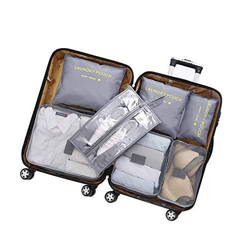 Organizadores de viajes Conjunto de 7 piezas Bolsas de almacenamiento de ropa...