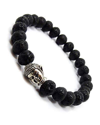 Sataanreaper Presents Negro Negro Piedra De La Lava Reiki Yoga Beads Buda Meditación Difusor Band Pulsera para Hombres, Mujeres, Niñas, Niños Y#Sr-666