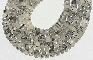 "Jewel Beads Natural Beautiful jewellery Black rutilated faceted rondelle beads, black rutile beads, black rutilatd quartz loose gemstone beads necklace 8mm-9mm 8"" Inch strandCode:- JBB-35712"