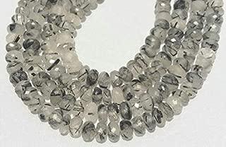 "Jewel Beads Natural Beautiful jewellery Black rutilated faceted rondelle beads, black rutile beads, black rutilatd quartz loose gemstone beads necklace 8mm-9mm 8"" Inch strandCode:- JBB-35712"