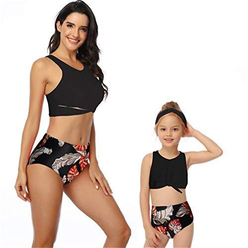Madre Hija Vestidos - Sexy Bikini De Cintura Alta Floral Estampado Look Viste A Mamá Y Yo Ropa Traje De Baño Familiar Para La Hija Madre Traje De Baño A Juego Ladies Girl Outfits,Pink, Mamá Grande