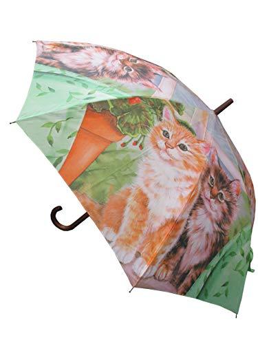 LaFiore24 Regenschirm Damen Stockschirm Automatikfunktion Holzgriff Gross windresistent Gehstock Bunt-Katze