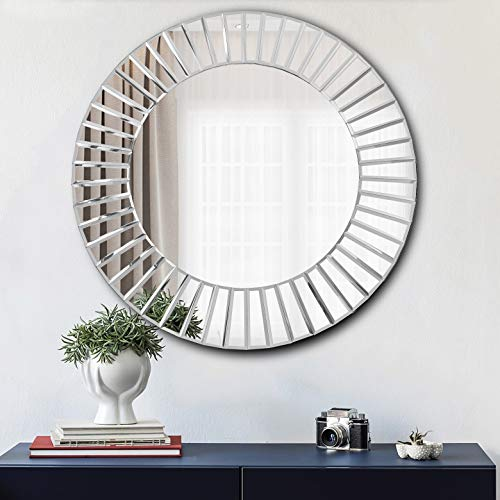 Hlartdecor Beveled Mirror/Polished Mirror for Wall Decorating,Round,Silver(23.6X23.6inches).HFY Wall Decorative Sun Shape Mirror.