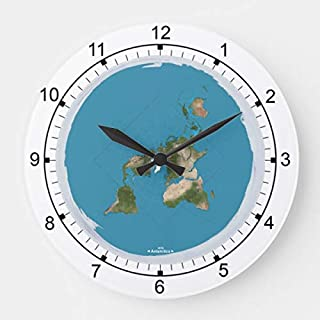PotteLove Flat Earth Large Wooden Decorative Round Wall Clock